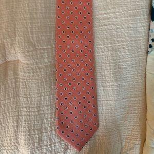 Men's coral, navy, white tie
